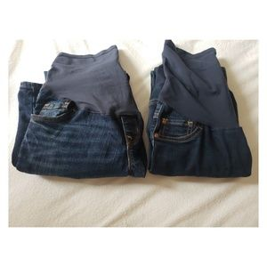 Bundle of two full panel maternity jeans sz 2